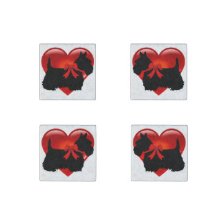 Scottish Terrier black/heart red bow Stone Magnet