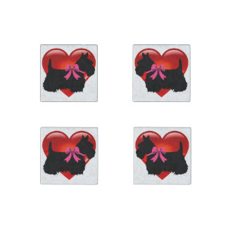 Scottish Terrier black/heart red, pink bow Stone Magnet