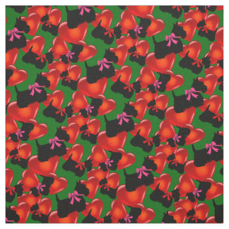Scottish Terrier black, hearts, red/pink bow Fabric
