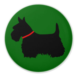 Scottish Terrier black Island green red colar Ceramic Knob