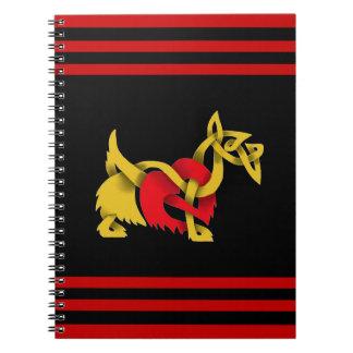 Scottish Terrier black silhouette celtic heart Spiral Notebook