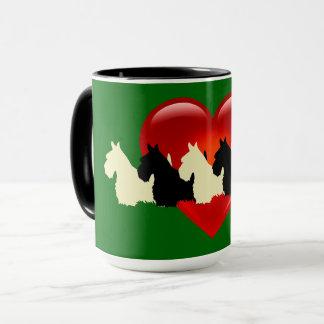 Scottish Terrier black silhouette, Island green Mug