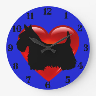 Scottish Terrier black silhouette red heart/blue Large Clock