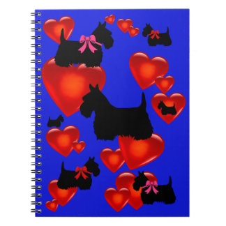 Scottish Terrier black silhouette red heart/bow Spiral Notebook