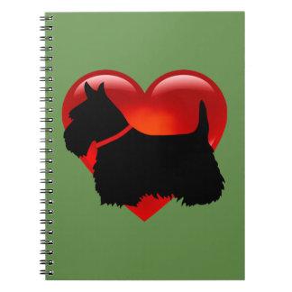 Scottish Terrier black silhouette red heart collar Notebook