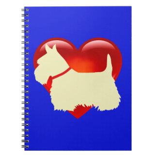 Scottish Terrier black silhouette red heart collar Notebooks