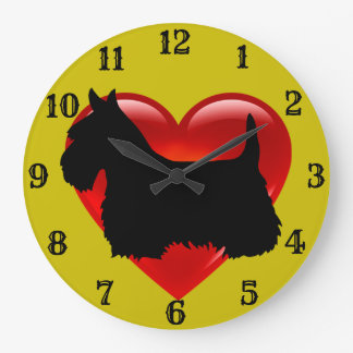 Scottish Terrier black silhouette red heart/gold Large Clock