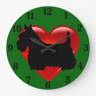 Scottish Terrier black silhouette red heart/green Large Clock