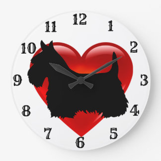 Scottish Terrier black silhouette red heart Large Clock