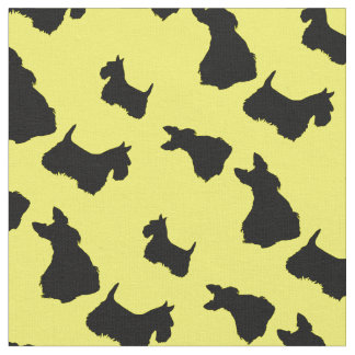 Scottish Terrier black silhouette, red/pink bow Fabric