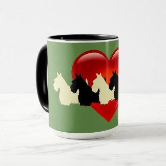 Scottish Terrier black silhouette, sage green Mug