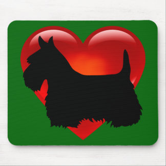 Scottish Terrier black silhouette Scotland green Mouse Pad