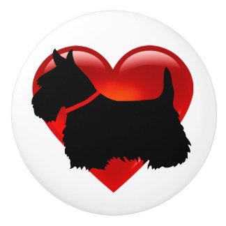 Scottish Terrier black silhouette with red bow Ceramic Knob