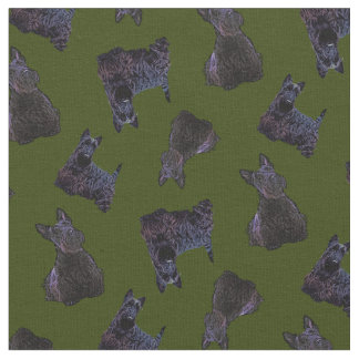 Scottish Terrier black sitting/standing/Odee green Fabric