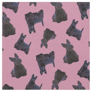 Scottish Terrier black sitting/standing/zaz pink Fabric