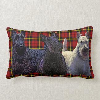 Scottish Terrier black/wheaten, deep red plaid Lumbar Cushion