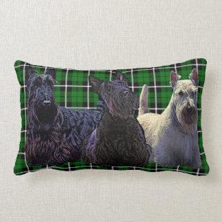 Scottish Terrier black/wheaten, Island green plaid Lumbar Cushion