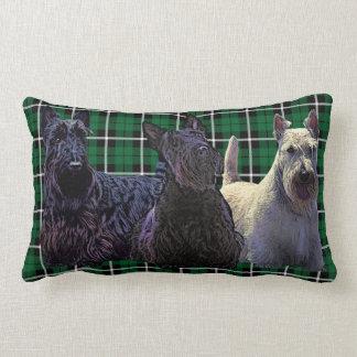 Scottish Terrier black/wheaten, kelly green plaid Lumbar Cushion