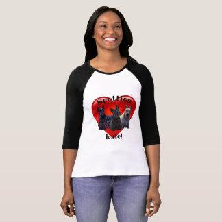 Scottish Terrier black/wheaten, Rule, red heart T-Shirt