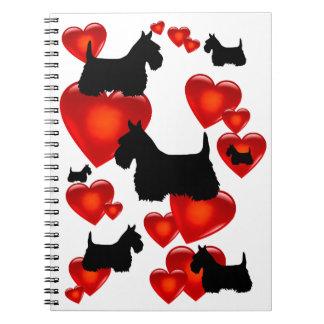 Scottish Terrier black/wheaten silhouette heart Spiral Notebook