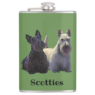 Scottish Terrier black/wheaten, sitting/standing Hip Flask