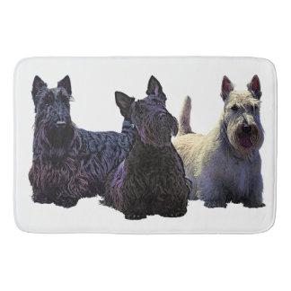Scottish Terrier black/wheaten trio, black dog Bath Mat