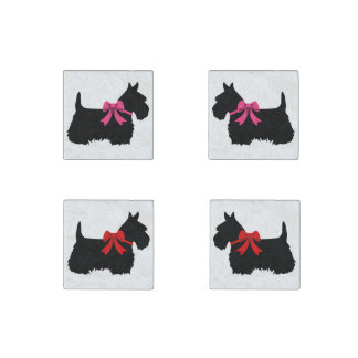 Scottish Terrier black/white red bow/pink bow Stone Magnet