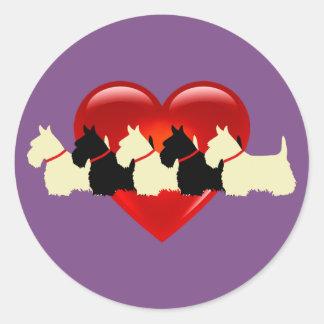 Scottish Terrier black/white red heart / collar Classic Round Sticker