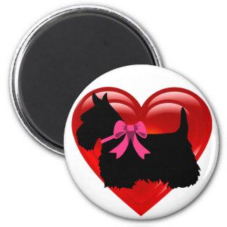 Scottish Terrier black/white red heart/pink bow Magnet
