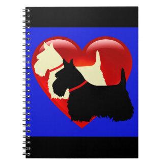 Scottish Terrier black/white silhouette heart blue Notebook