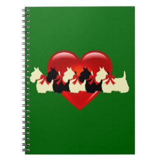 Scottish Terrier black/white silhouette heart blue Spiral Notebook