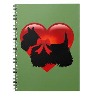 Scottish Terrier black/white silhouette heart/bow Notebook