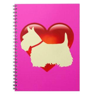 Scottish Terrier black/white silhouette heart/bow Notebooks