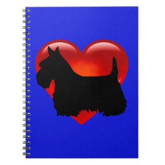 Scottish Terrier black/white silhouette heart/bow Spiral Notebook