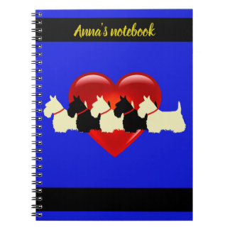 Scottish Terrier black/white silhouette heart/name Notebook