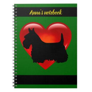 Scottish Terrier black/white silhouette heart/name Notebooks