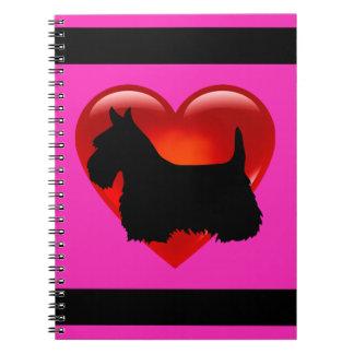 Scottish Terrier black/white silhouette heart pink Notebooks