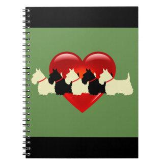 Scottish Terrier black/white silhouette heart Spiral Notebook