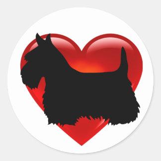 Scottish Terrier black/white silhouette red heart Classic Round Sticker