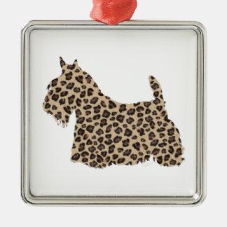 Scottish Terrier Cheetah Print Silver-Colored Square Decoration