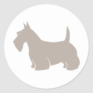 Scottish Terrier Classic Silhouette Round Stickers