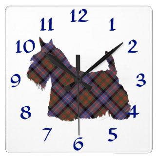 Scottish Terrier Cochran Tartan Square Wall Clock