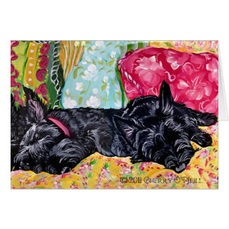 Scottish Terrier Cottage Card