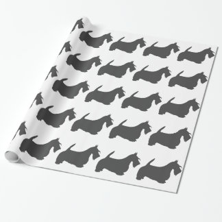 scottish terrier dark grey silhouette wrapping paper