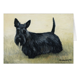 """Scottish Terrier"" Dog Art Blank Notecard"