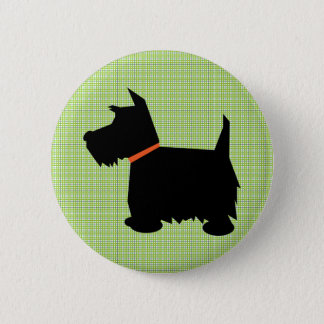 Scottish Terrier dog black silhouette button, pin