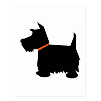 Scottish Terrier dog black silhouette postcard