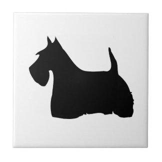 Scottish Terrier dog black silhouette tile, trivet