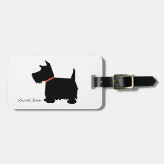 Scottish terrier dog cute black silhouette custom luggage tag
