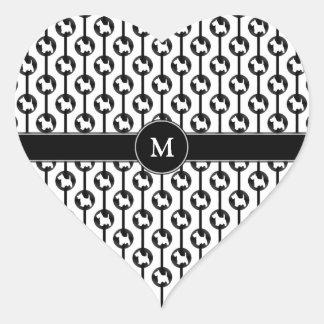 Scottish Terrier Dog Polkadot Monogram Initial Heart Sticker